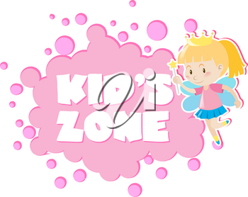 Kid's zone with girl in fairy outfit illustration