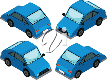 Blue car from four different angles illustration