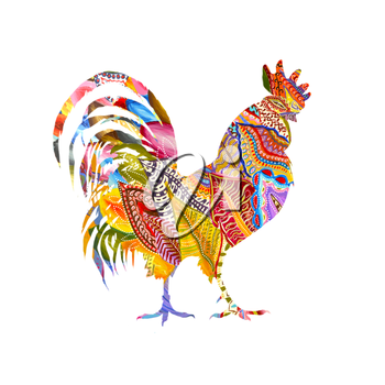 Colorful poster of a rooster isolated on white background. Good for prints, covers, posters, cards, gift design. Hand drawn illustration. Decorative ornament.