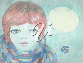Portrait of beautiful girl with blue eyes, wearing a scarf on grunge background. Illustration of beauty teenage girl with speech bubble. Outdoors. Close-up. Cute face.