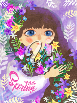 Little girl with spring flowers.Hello spring illustration with little girl with big blue eyes and dark hair with spring flowers.