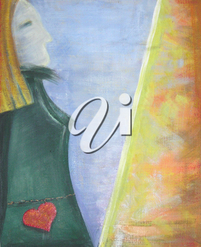 Acrylic painting on the theme of feminism, emotions, feelings.A woman in a green dress rest.