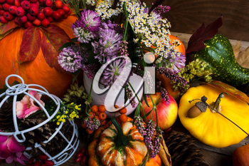 Thanksgiving arrangement with yellow, green, orange squash, white birdcage, cones, apples and purple clower flowers