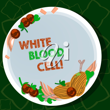 Handwriting text writing White Blood Cell. Conceptual photo Leucocytes in charge of protect body from infections Hand Drawn Lamb Chops Herb Spice Cherry Tomatoes on Blank Color Plate
