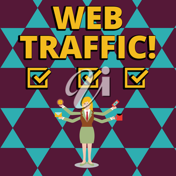 Text sign showing Web Traffic. Business photo showcasing amount of data sent and received by visitors to website Businesswoman with Four Arms Extending Sideways Holding Workers Needed Item