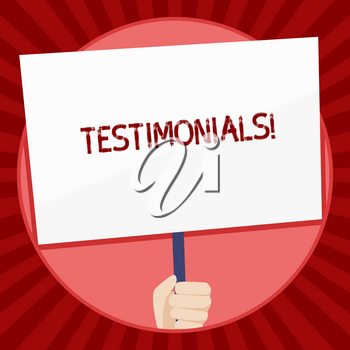Handwriting text Testimonials. Conceptual photo Customers formal endorsement statement experience of someone Hand Holding Blank White Placard Supported by Handle for Social Awareness