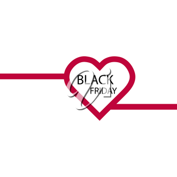 Illustration of an isolated line art heart icon with the text BLACK FRIDAY.