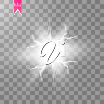 White abstract energy shock explosion special light effect with spark. Vector glow power lightning cluster. Electric discharge on transparent background. High voltage charged core. Vector