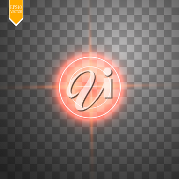 Neon red target isolated. Game Interface Element. Vector