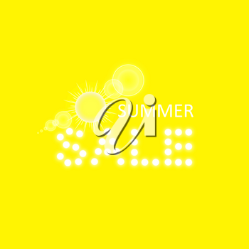 Super summer sale banner with sun on the yellow background,. Business seasonal shopping concept, vector