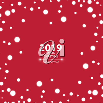 2019 Christmas card with a snow on the red background.