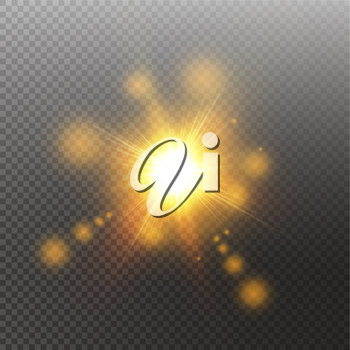 Vector transparent sunlight special lens flare light effect. Sun isolated on transparent background. Glow light effect.