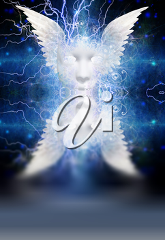 Spiritual composition. White winged mask with lightnings