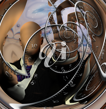Faceless man and time spirals. 3D rendering
