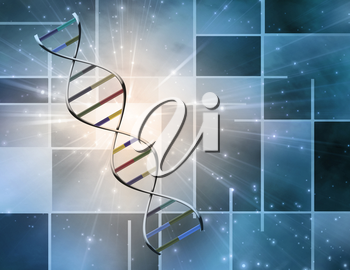 DNA strand in geometric art background