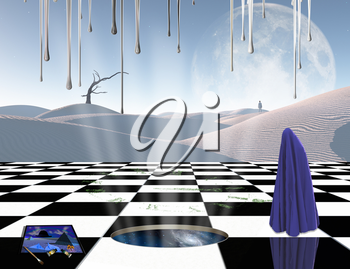 Surrealism. Chessboard with portal to another dimension. Lonely man in a distance. Figure of man covered by purple cloth. White sand dune, giant moon at the horizon. 3D rendering
