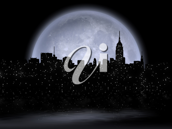 NYC Cityscape reflects in the moon. 3D Rendering