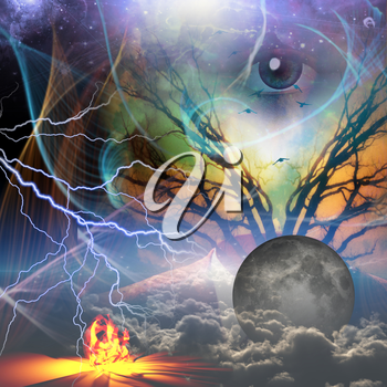 Surrealism. God's eye, moon, fire and clouds. Suit and branches of a tree