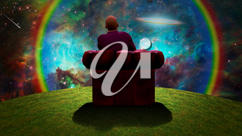 Surreal composition. Man sits in red armchair and observes vivid galaxy. 3D rendering