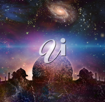 Temple in eastern style. Universe with galaxies on a background.