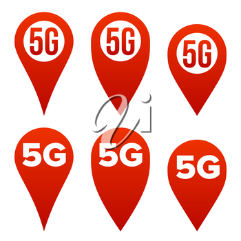 5G Pointer Sign Set Vector. Red Icon. Internet Wi-Fi Connection Standard. Speed Sign. Wireless Internet Network Future Technology. Illustration