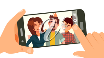 Taking Photo On Smartphone Vector. Smiling People. Modern Friends Taking Horizontal Selfie. Hand Holding Smartphone. Camera Viewfinder. Friendship Concept. Isolated Flat Cartoon Illustration