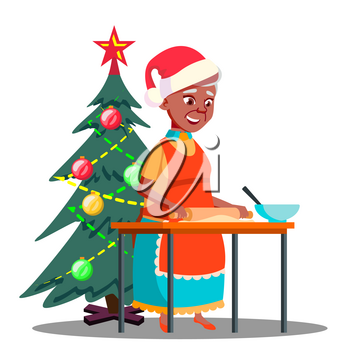 Old Woman Makes Christmas Cookies In The Kitchen Vector. Illustration