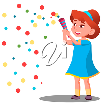 Girl Child Throw Colored Confetti At The Carnival Party Vector. Illustration