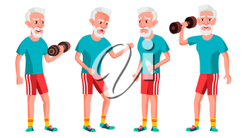 Old Man Poses Set Vector. Elderly People. Senior Person. Aged. Sport, Fitness. Comic Pensioner. Lifestyle. Postcard Cover Placard Design Isolated Cartoon Illustration