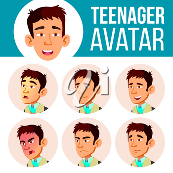 Teen Boy Avatar Set Vector. Asian Face Emotions. Facial, People. Positive. Head Illustration