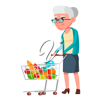 Old Woman Poses Vector. Elderly People. Senior Person. Aged. Positive Pensioner. Advertising, Placard, Print Design. Isolated Cartoon Illustration
