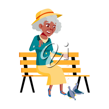 Old Woman Poses Vector. Black. Afro American. Elderly People. Senior Person. Aged. Funny Pensioner. Leisure. Postcard, Announcement, Cover Design. Isolated Cartoon Illustration