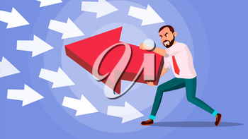 Businessman Pushing Arrow Vector. Strategy Concept. Standing Out From The Crowd. Different Idea. Against Obstacles. Opposite Direction. Cartoon illustration