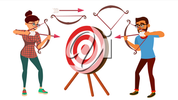 Archery Concept Vector. Woman And Man Shooting From A Bow In A Target. Archery Player Aiming At Target. Sport, Challenge, Leisure. Arrow. Cartoon Illustration
