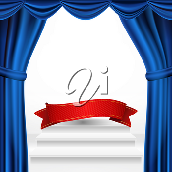 Winners Podium, Theater Curtain Vector. Awards Ceremony Pedestal. White Stage. Empty Platform. Trophy Place. Competition Award Event. Realistic Illustration