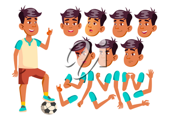 Arab, Muslim Teen Boy Vector. Teenager. Caucasian, Positive. Face Emotions, Various Gestures. Animation Creation Set. Isolated Flat Character Illustration