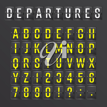 Airport Board Vector. Mechanical Timetable Information Alphabet Aalog Font