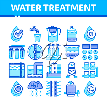 Water Treatment Items Vector Thin Line Icons Set. Filter And Cleaning System Water Treatment Elements From Microbe Germs Linear Pictograms. Rain Cloud And Pump Station Color Contour Illustrations