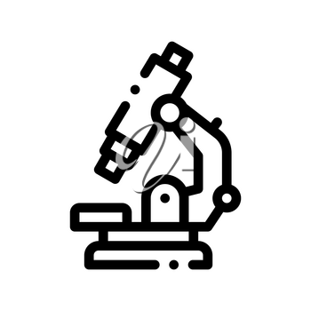 Medical Equipment Microscope Vector Thin Line Icon. Medicine Laboratory Microscope Linear Pictogram. Chemical Medical Microbe Type Infection Microorganism Contour Monochrome Illustration