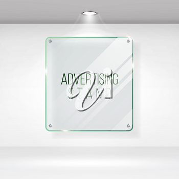 Advertising Stand Glass Vector. Realistic Glass On A Wall With Lights. Good For Images And Advertisement. Banner Template For Designers.