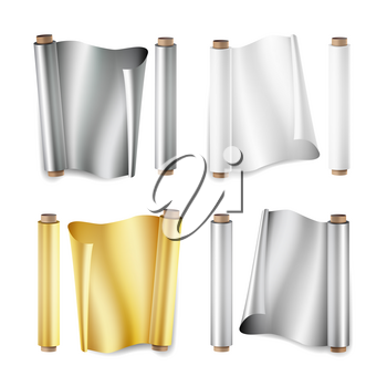 Foil Roll Set Vector. Aluminium, Metal, Gold, Baking Paper. Close Up Top View. Opened And Closed. Realistic Illustration Isolated