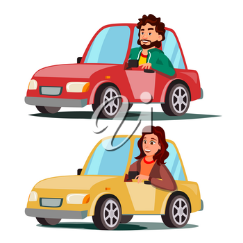 Driver People Vector. Man, Woman Sitting In Modern Automobile. Buy A New Car. Driving School Concept. Happy Female, Male Motorist. Isolated Cartoon Character Illustration