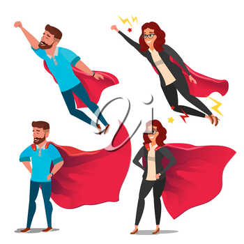 Super Businesswoman Character Vector. Achievement Victory Concept. Successful Superhero Business Person. Waving Red Cape. Isolated Flat Cartoon Illustration