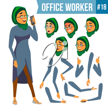 Office Worker Vector. Woman. Professional Officer, Clerk. Adult Business Female. Lady Face Emotions, Various Gestures. Animation Creation Set. Isolated Cartoon Illustration