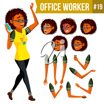 Office Worker Vector. Woman. Smiling Servant, Officer. Business Person. Face Emotions, Various Gestures. Animation Creation Set. Flat Cartoon Illustration