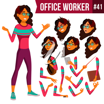 Office Worker Vector. Woman. Professional Officer, Clerk. Businessman Female. Lady Face Emotions, Various Gestures. Animation Creation Set. Isolated Flat Character Illustration