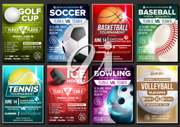 Sport Poster Set Vector. Ice Hockey, Bowling, Basketball, Golf, Baseball, Tennis, Soccer, Football. Banner Advertising Event Announcement Ball A4 Size Template Game Championship Illustration