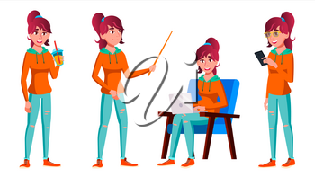 Teen Girl Poses Set Vector. Adult People. Casual. For Advertisement, Greeting, Announcement Design. Isolated Cartoon Illustration