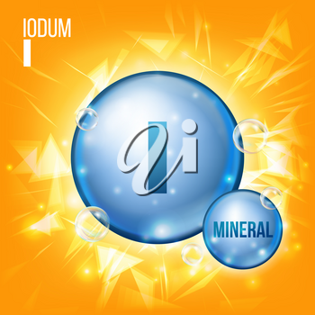 I Iodum Vector. Mineral Blue Pill Icon. Vitamin Capsule Pill Icon. Substance For Beauty, Cosmetic, Heath Promo Ads Design. Mineral Complex With Chemical Formula. Illustration