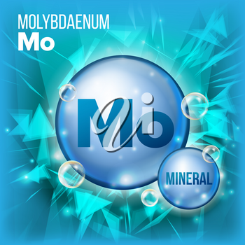 Mo Molybdaenum Vector. Mineral Blue Pill Icon. Vitamin Capsule Pill Icon. Substance For Beauty, Cosmetic, Heath Promo Ads Design. Mineral Complex With Chemical Formula. Illustration